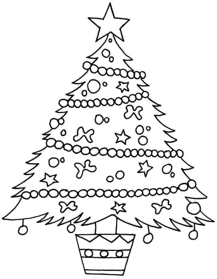 Desenho de árvore de Natal para Educação Infantil