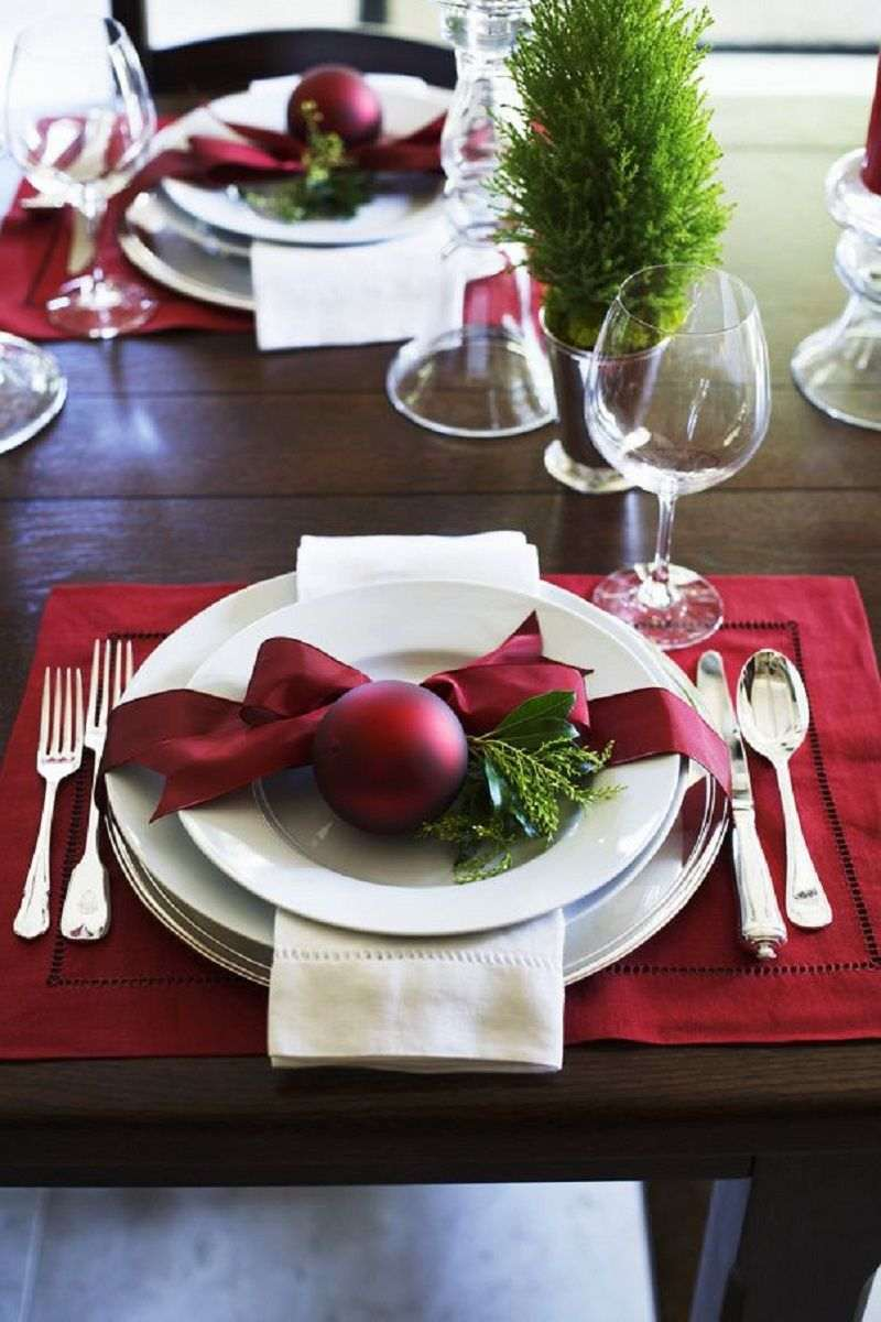 mesa posta para jantar natalino