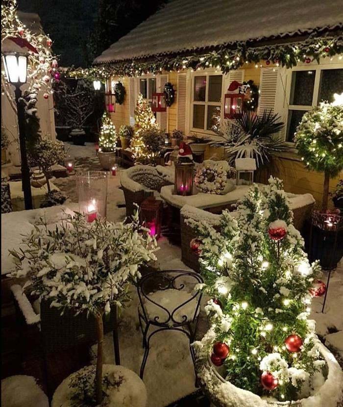 decoração de natal com neve
