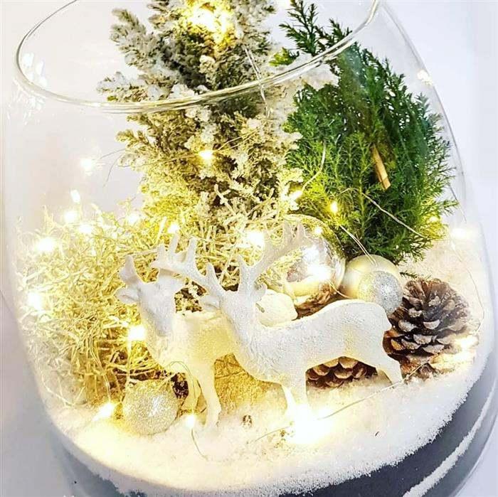 decoração de natal no aquário com luz