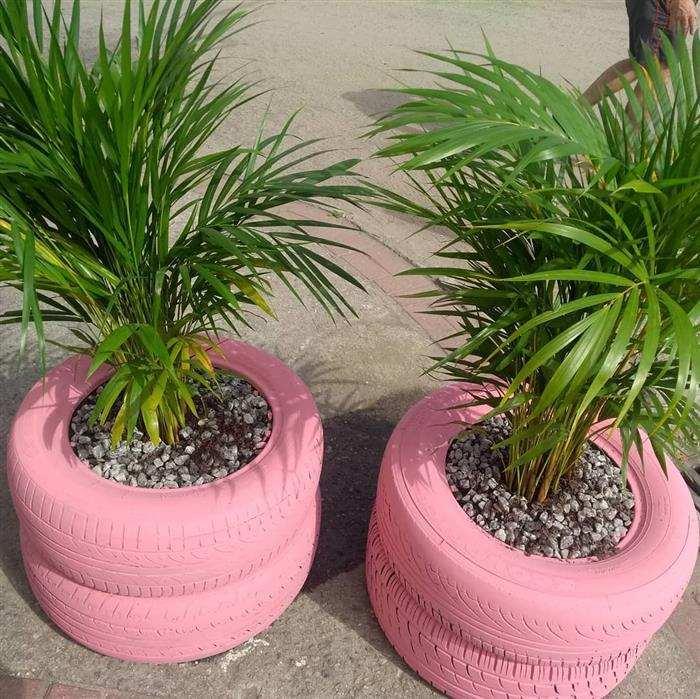 decoração para jardim com pneus