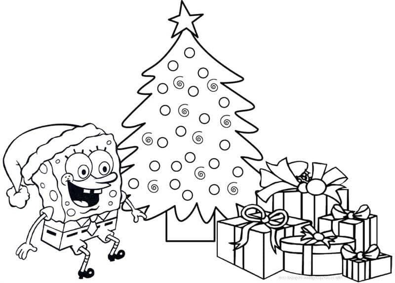 árvore natalina com o Bob Esponja