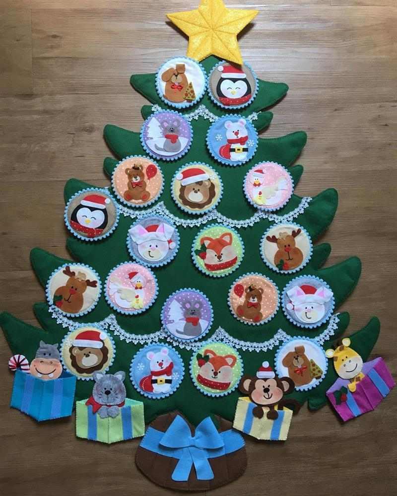 árvore de Natal de feltro com velcro