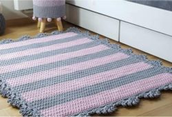 tapete de fio de malha cinza com rosa