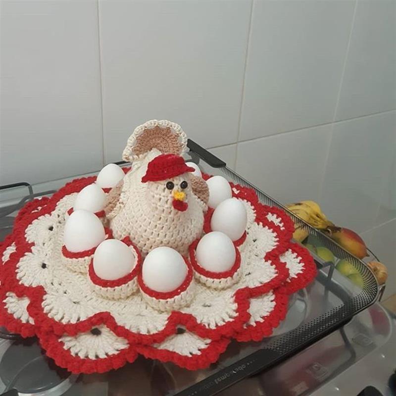 Galinha porta ovos de crochê