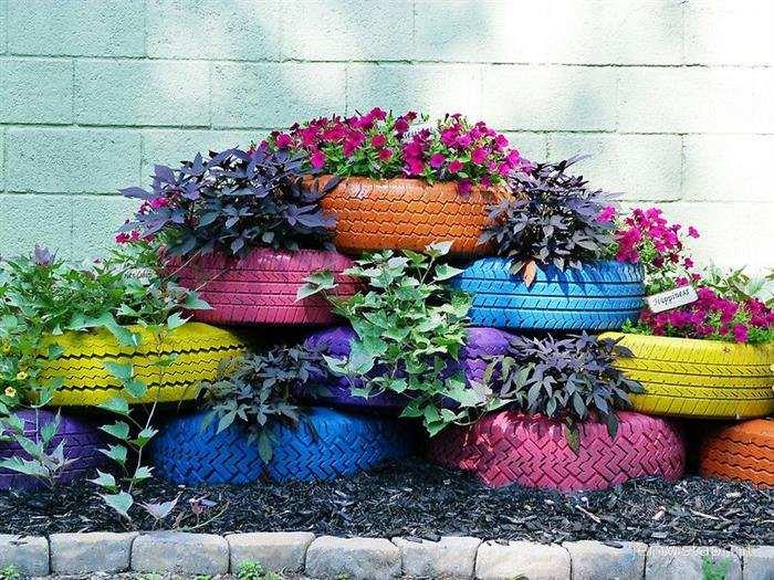 ideias de jardim com pneus