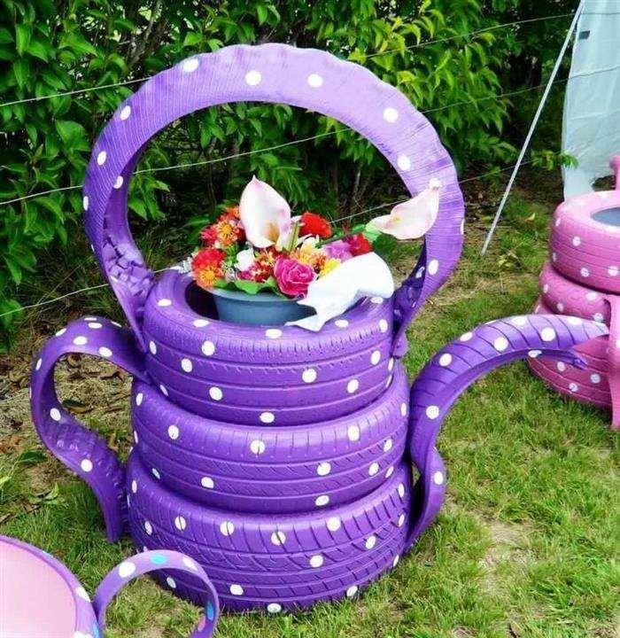 ideias para jardim com pneus