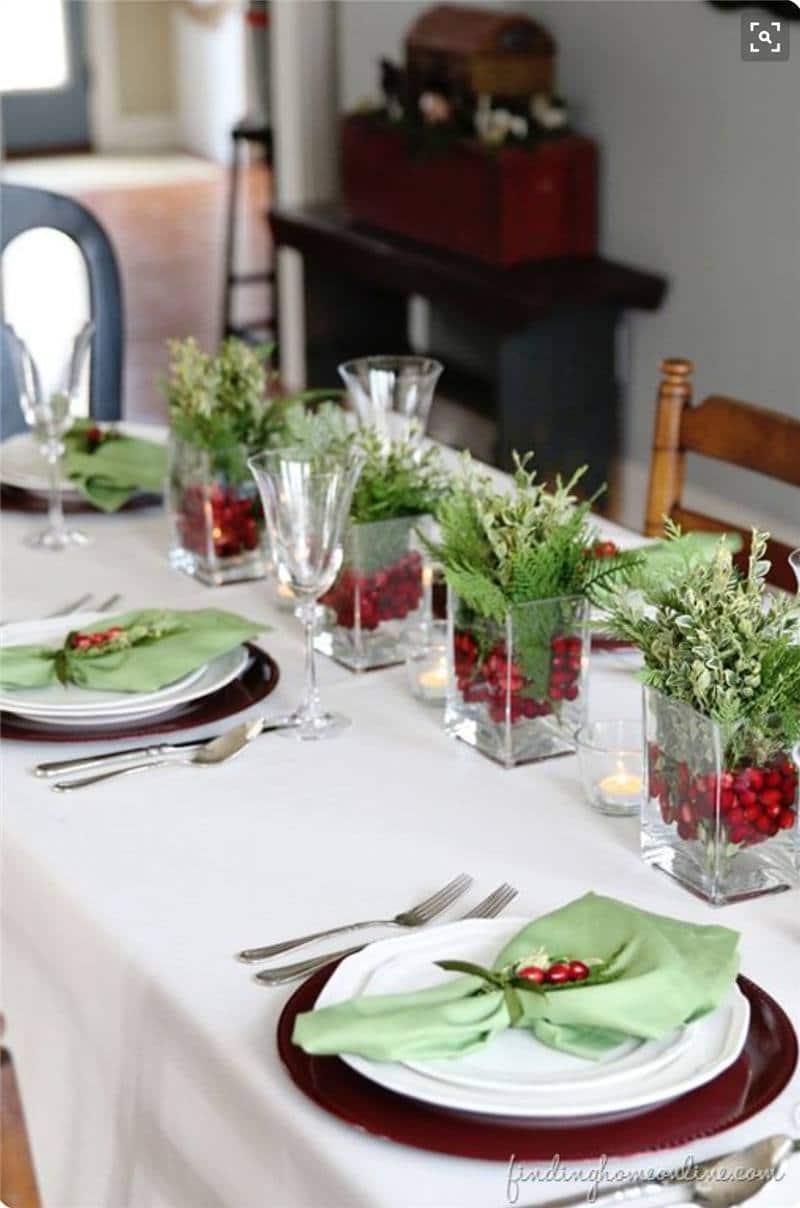 Enfeites de mesa de Natal