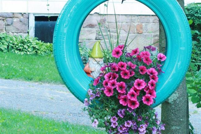 jardim de pneus suspenso