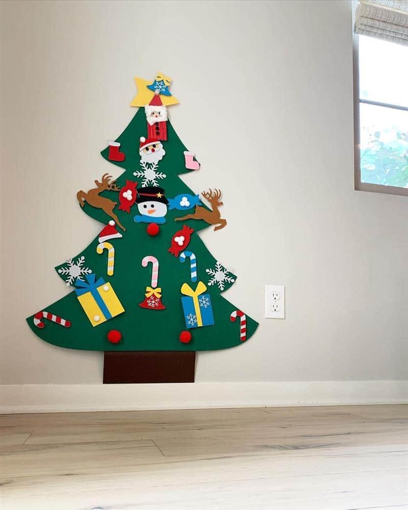 Árvore de Natal de parede em feltro