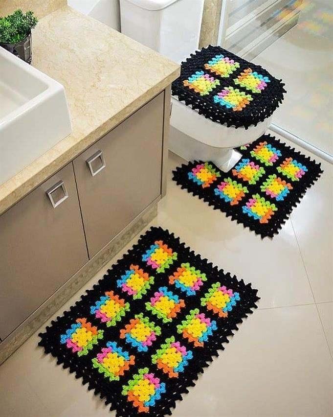 jogo de tapetes de fios de malha para banheiro