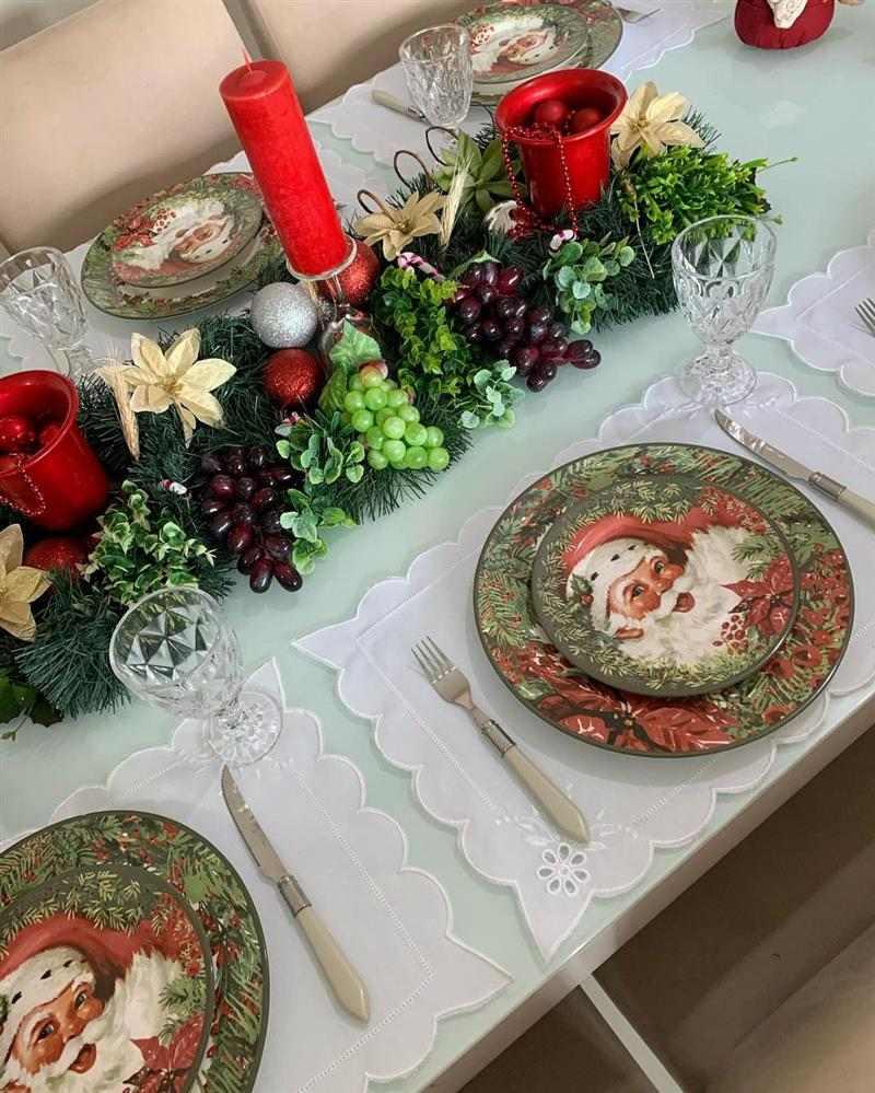 Enfeites para mesa de Natal com frutas