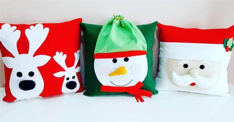 almofadas com tema de natal