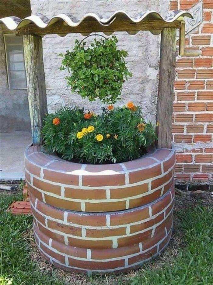poço de jardim com pneus