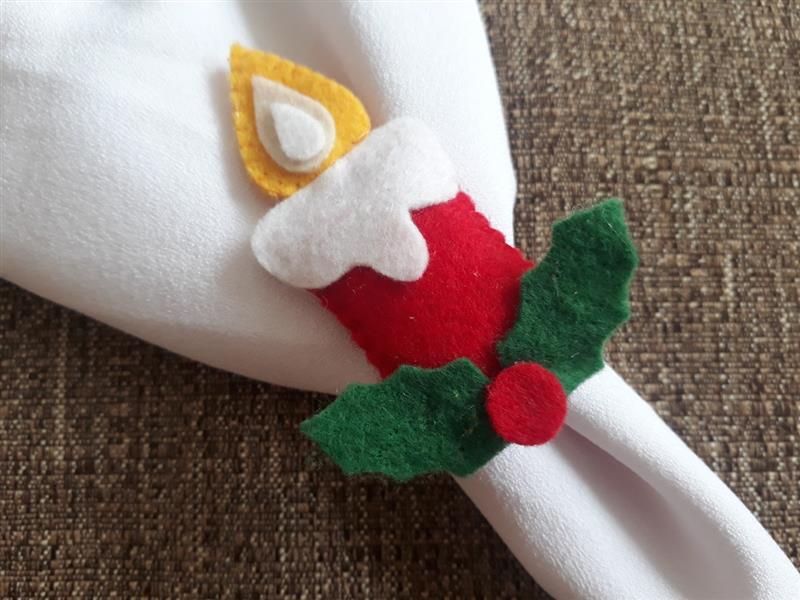 Porta guardanapo de vela natalina