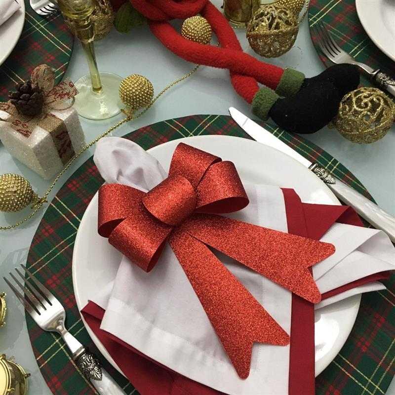 Porta guardanapo de laço natalino