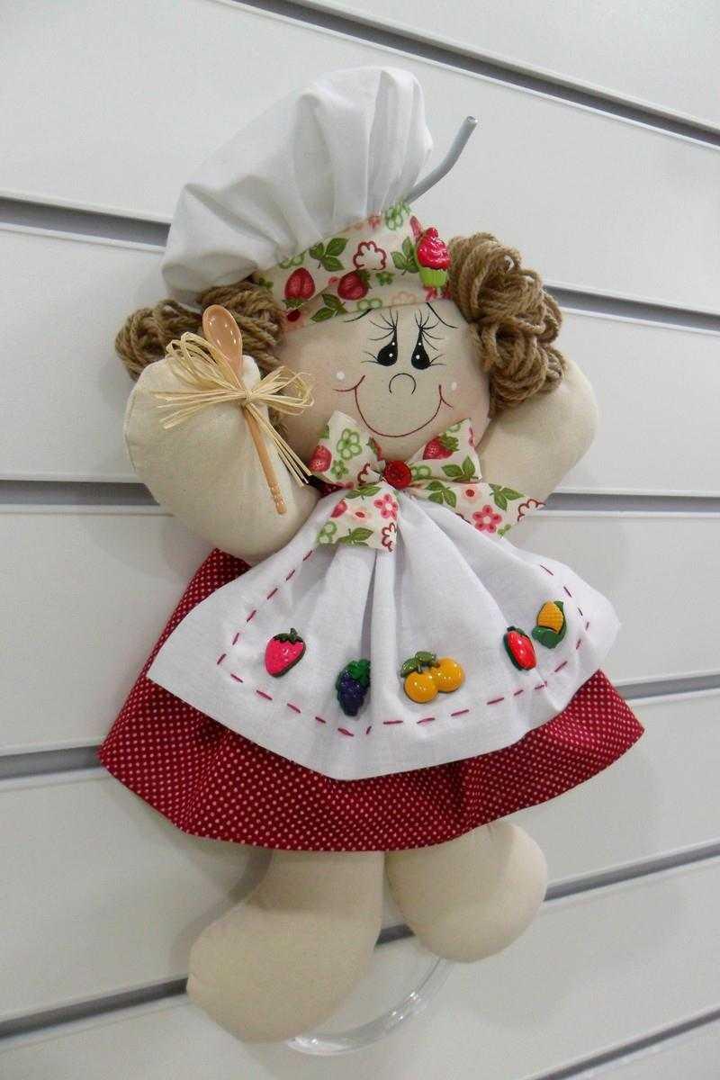 boneca cozinheira porta pano de prato