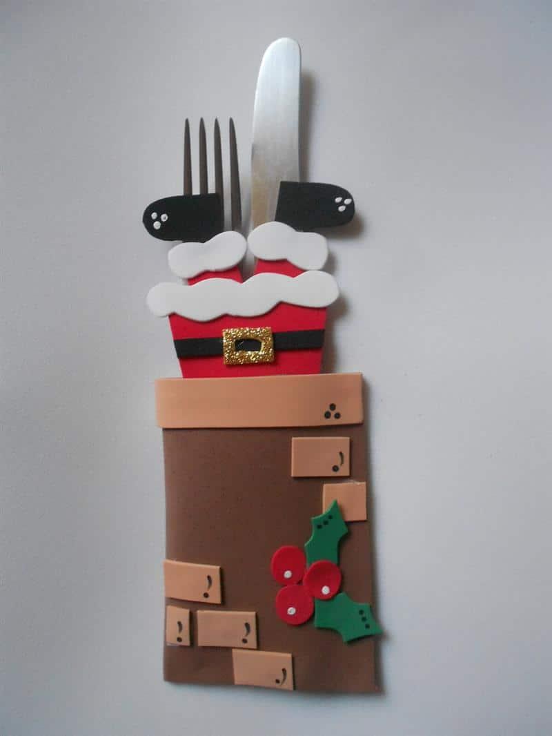 Porta talher de Papai Noel