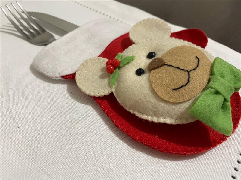 Porta talher ursinho de Natal