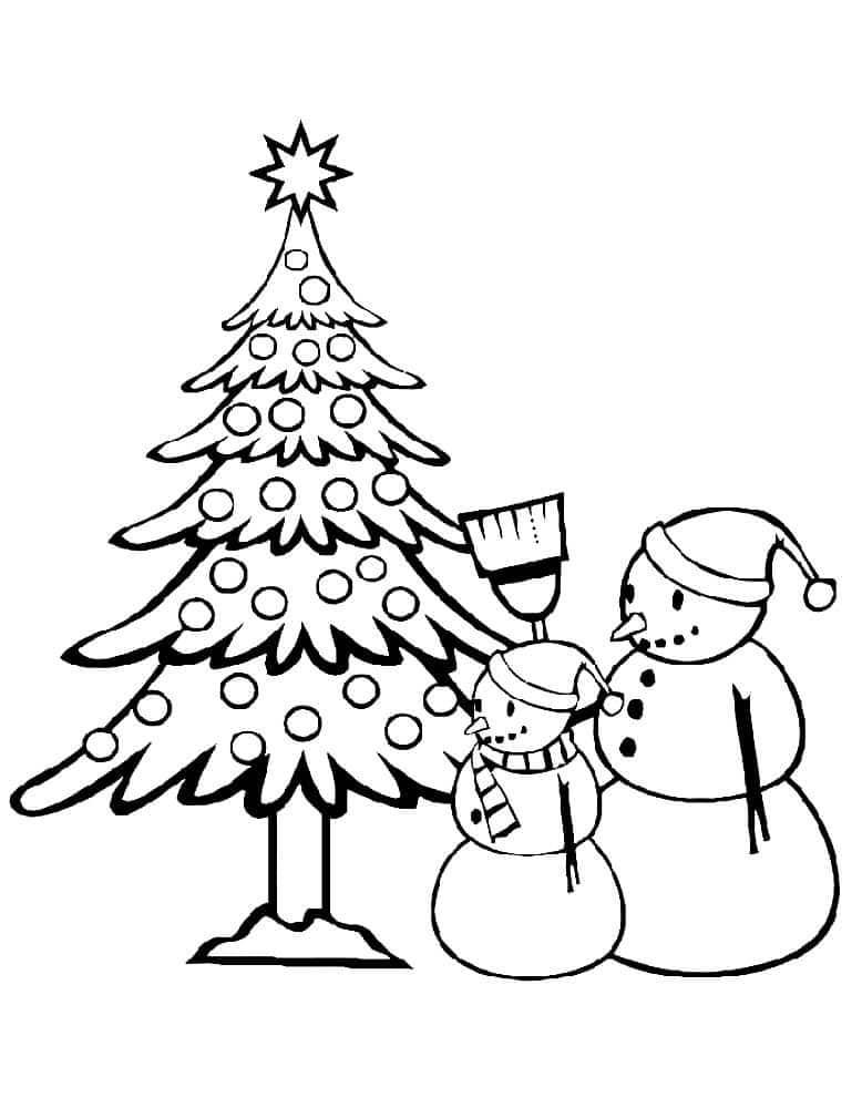 árvore de Natal com boneco de neve