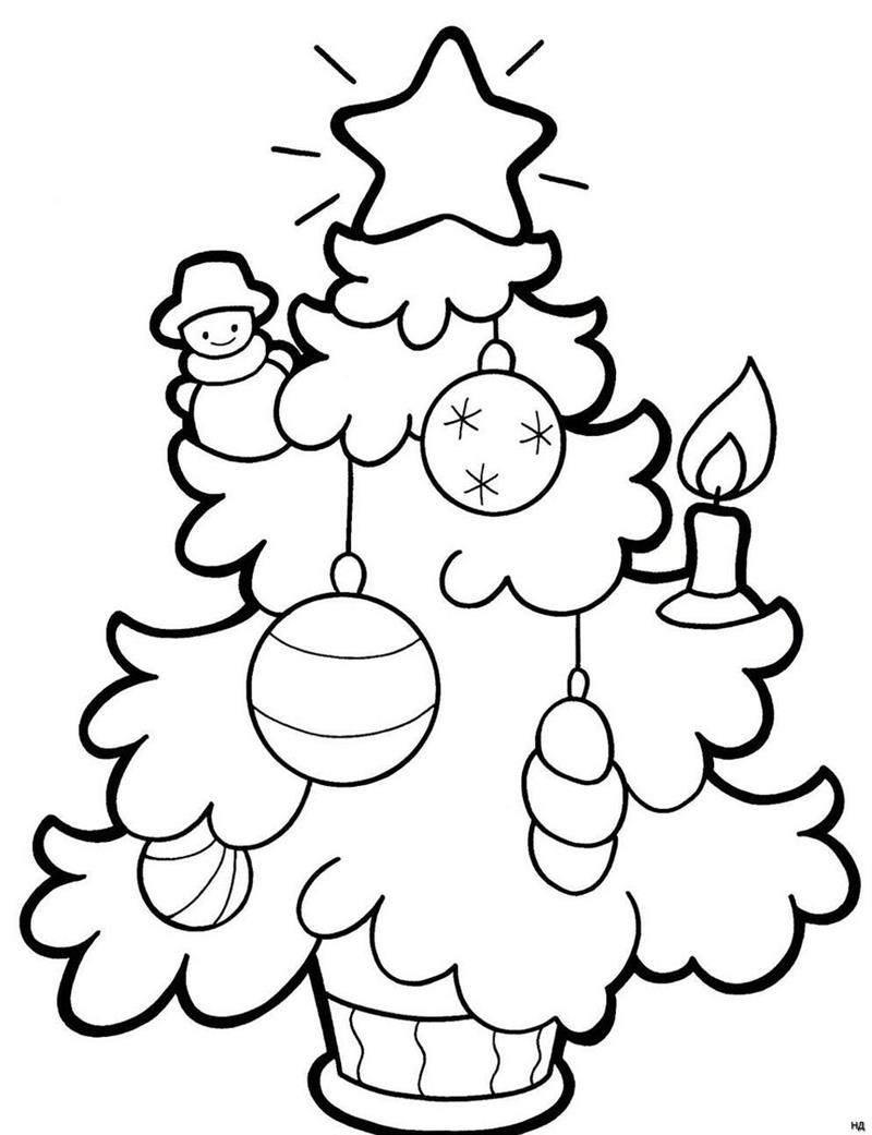 desenho de arvore de natal decorada