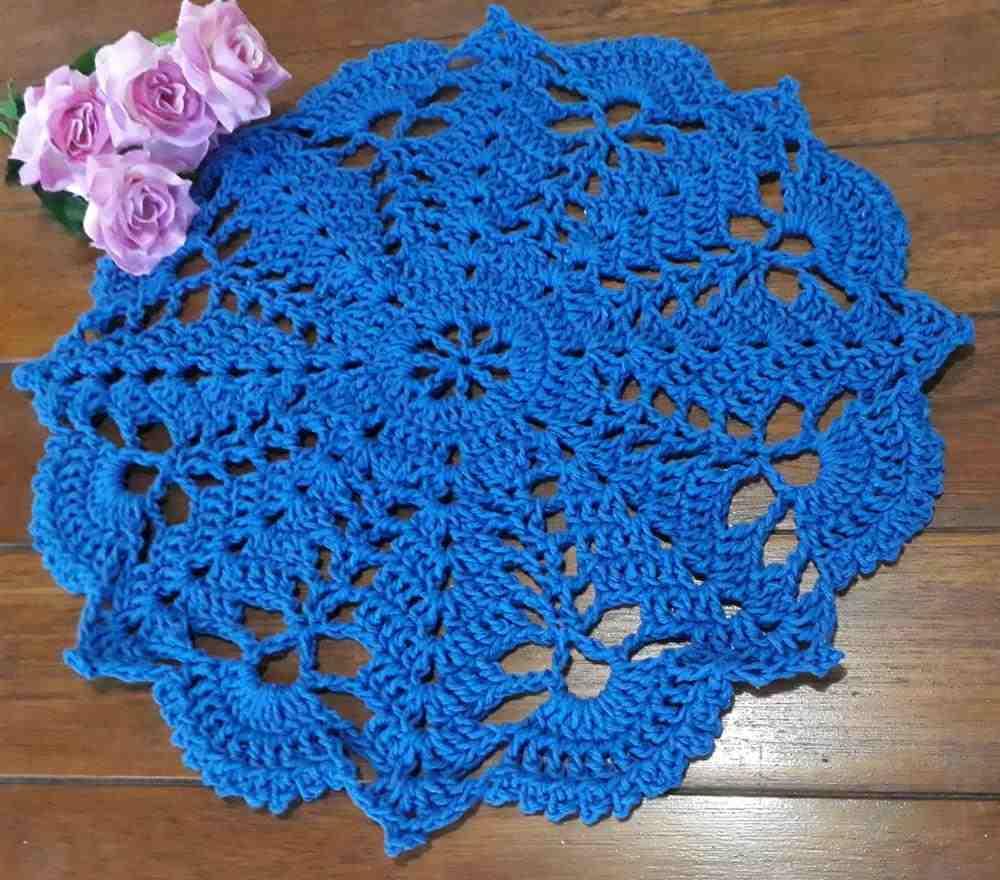 Sousplat de crochê azul