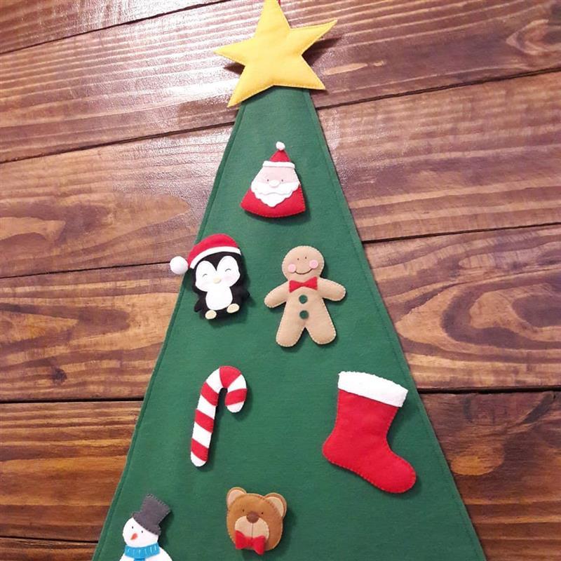 Árvore de Natal de feltro para colar na parede