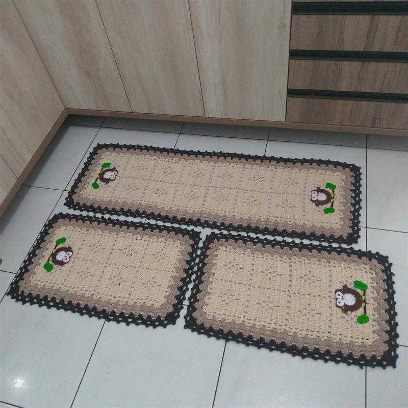 Jogo de tapete para cozinha de crochê