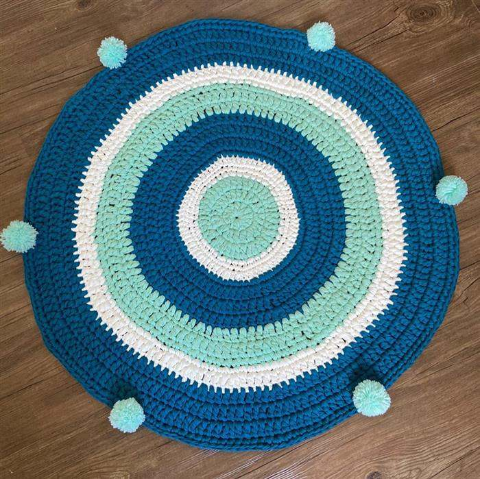 tapete de fio de malha azul