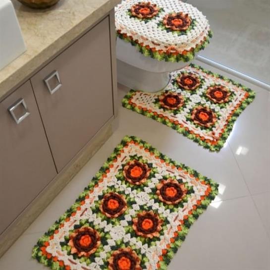 tapete de fio de malha colorido para banheiro