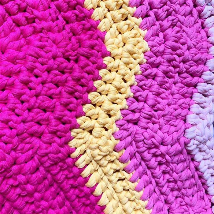 tapete hexagonal fio de malha