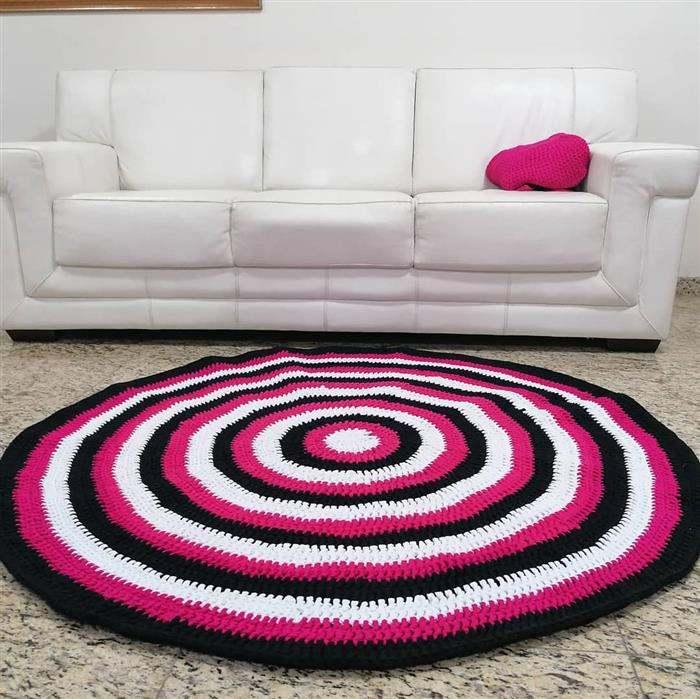 tapete redondo de fio de malha colorido