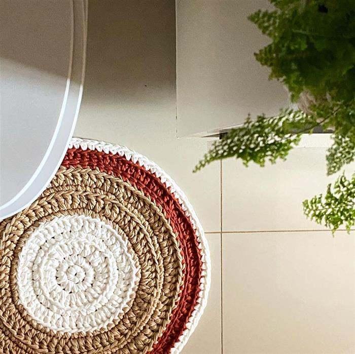 tapetes de fios de malha banheiro redondo