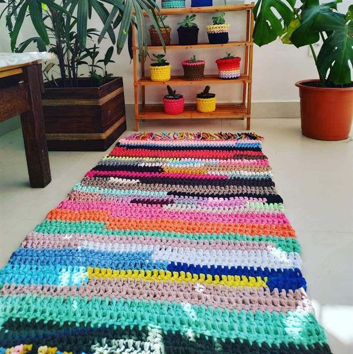 tapetes de fios de malha colorido
