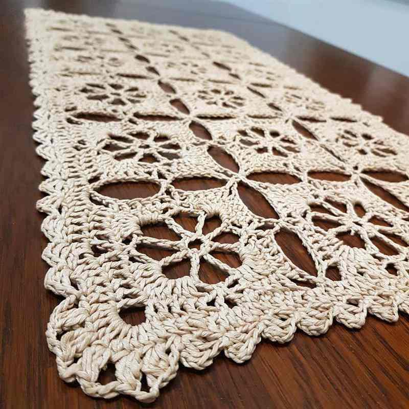 toalha de mesa de crochê retangular
