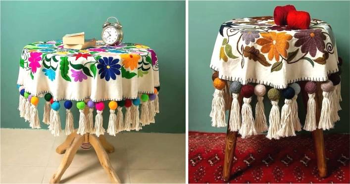 mesa com toalha de croche