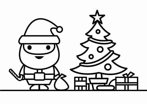 desenho de árvore de natal com papai noel