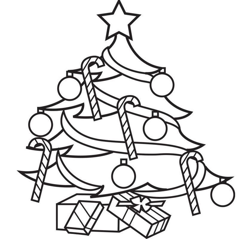 desenho de árvore de natal com presentes