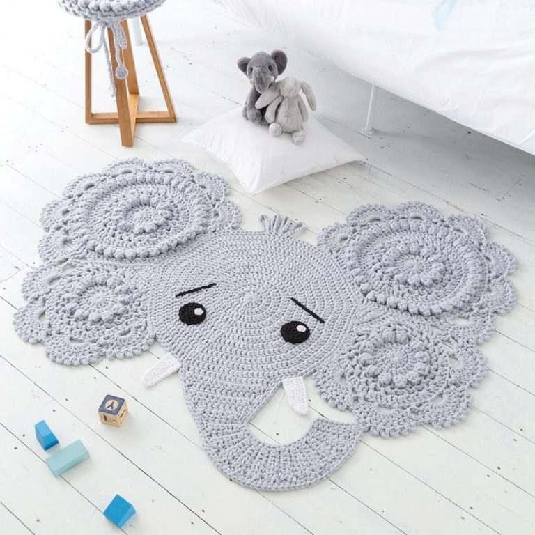 tapete de crochê elefante
