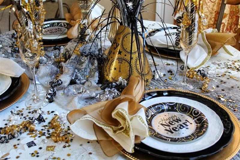 mesa da ceia com fitilhos