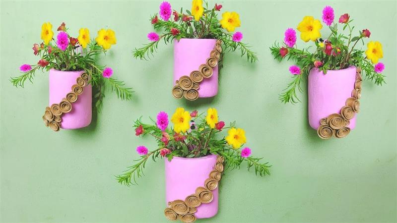 Vasos para jardim vertical rosa