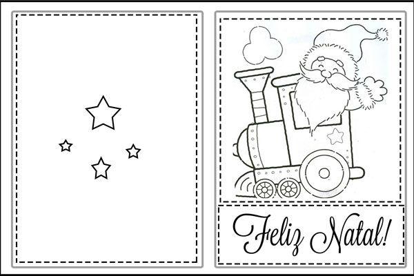 cartão de natal para colorir e escrever