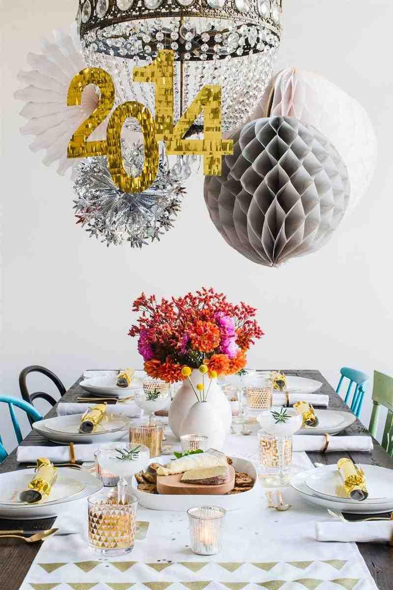 decoração de mesa para o Ano Novo