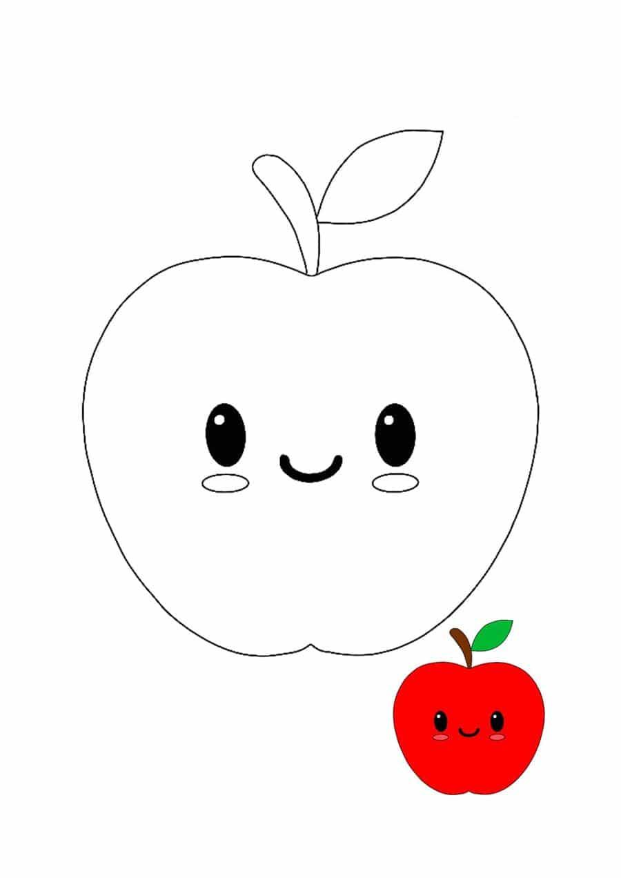 maçã para colorir