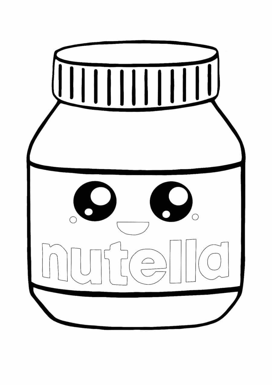 Desenho de Nutella para colorir