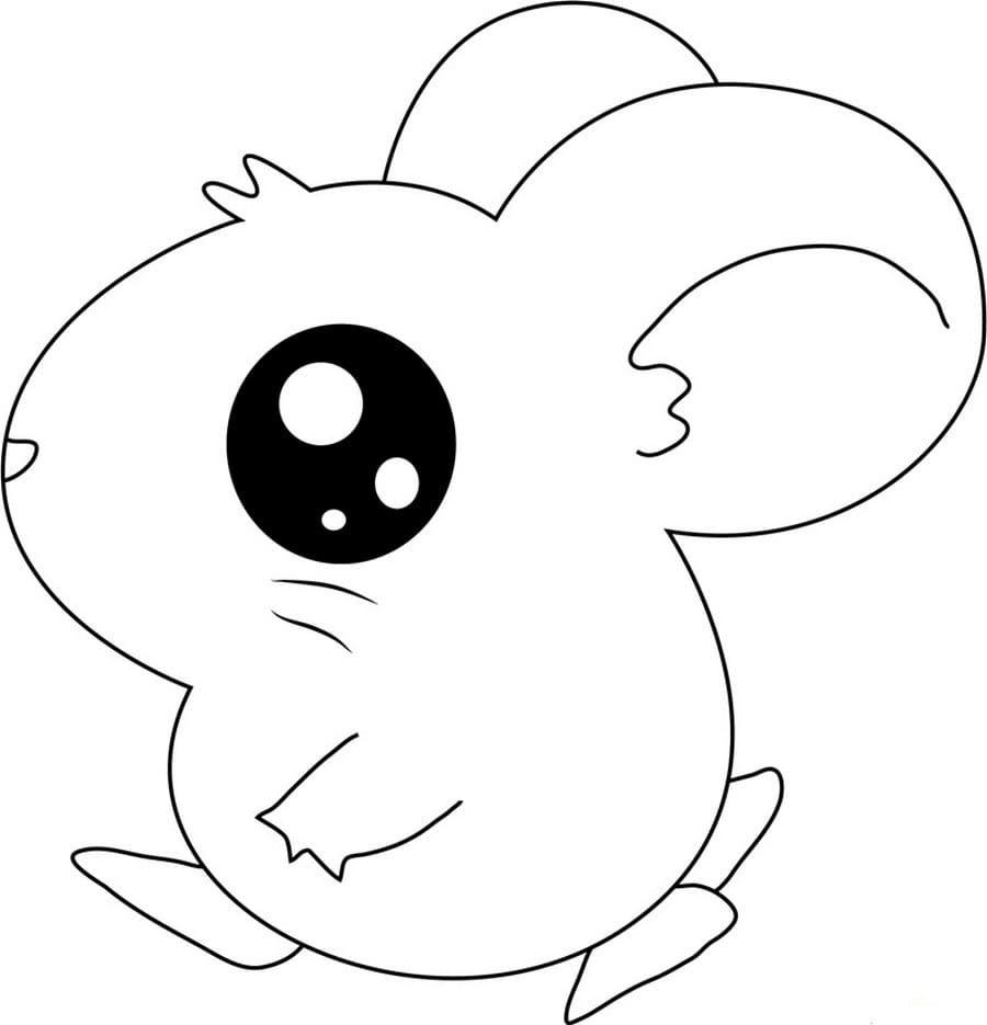 Desenho de ratinho kawaii