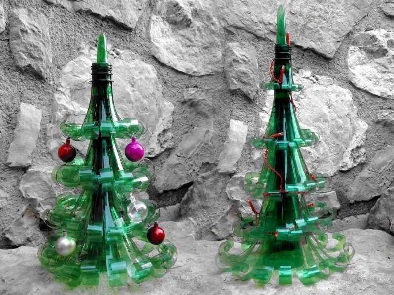 mini árvore de Natal com garrafa PET