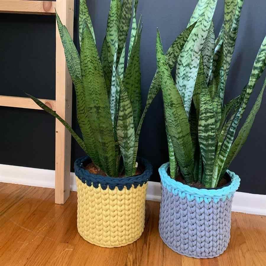 cachepô de crochê para plantas