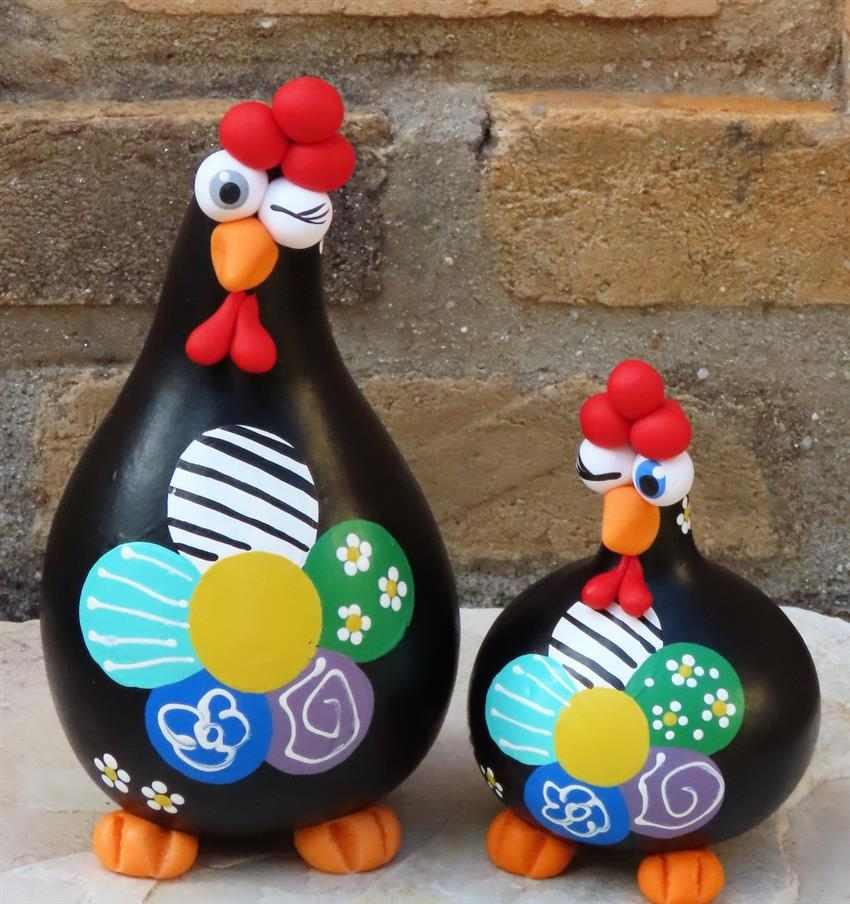 galinhas de cabaça e biscuit