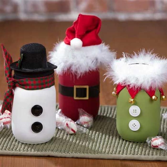 artesanato natal com pote de vidro